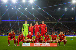 CARDIFF, WALES - Tuesday, November 19, 2019: Wales' players line-up for a team group photograph before the final UEFA Euro 2020 Qualifying Group E match between Wales and Hungary at the Cardiff City Stadium. (Pic by David Rawcliffe/Propaganda)