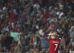October 10, 2017 - Lisbon, Portugal - Portugal's forward Cristiano Ronaldo reacts during the FIFA 2018 World Cup Qualifier match between Portugal and Switzerland at the Luz Stadium on October 10, 2017 in Lisbon, Portugal. (Credit Image: © Carlos Costa/NurPhoto via ZUMA Press)