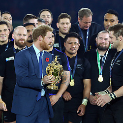 LONDON, ENGLAND - OCTOBER 31: Prince Harry  with Richie McCaw (captain) of New Zealand during the Rugby World Cup Final match between New Zealand vs Australia Final, Twickenham, London on October 31, 2015 in London, England. (Photo by Steve Haag)