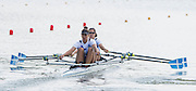 Poznan, POLAND. Women's Double Sculls, GRE W2X, Bow: Aikaterini NIKOLAIDOU and Sofia ASOUMANAKI, competiting the heats, at the 2015 FISA European Rowing Championships. Venue, Lake Malta. Friday 29.05.2015. [Mandatory Credit: Peter Spurrier/Intersport Images]