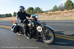 Francisco Tirado of Spain riding a 1937 Indian Chief during Stage 14 - (284 miles) of the Motorcycle Cannonball Cross-Country Endurance Run, which on this day ran from Meridian to Lewiston, Idaho, USA. Friday, September 19, 2014.  Photography ©2014 Michael Lichter.