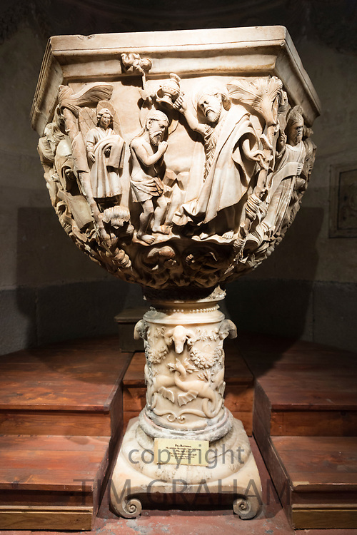 16th Century alabaster Gothic-style  baptismal font in Roman Catholic Cathedral of Avila, Cathedral de Avila, Spain