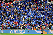Chelsea fans wave their flags during the game. The Emirates FA Cup semi-final match, Chelsea v Tottenham Hotspur at Wembley Stadium in London on Saturday 22nd April 2017.<br /> pic by Carl Robertson,  Andrew Orchard sports photography.