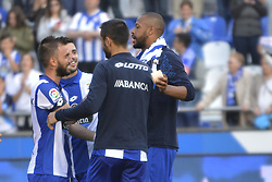 May 20, 2017 - Deportivo players happy after the game. LA CORUNA SPAIN. MAY 20, 2017 - La Liga Santander match day 38 game. Deportivo La Coruna defeated Las Palmas with goals scored by Florin And one (4th and 28th minute) and Carles Gil (39th minute). Riazor Stadium, Spain. Photo by Monica Arcay Carro | PHOTO MEDIA EXPRESS (Credit Image: © Monica Arcay Carro/VW Pics via ZUMA Wire/ZUMAPRESS.com)