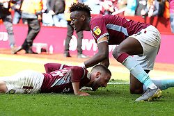 Aston Villa's Conor Hourihane (left) celebrates scoring his side's first goal of the game with team-mate Tammy Abraham