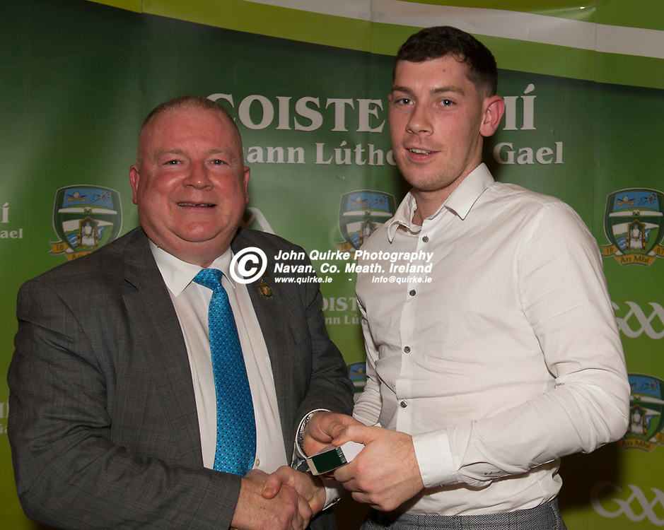 08-12-19. Meath GAA Annual Sponsors Night and Awards Presentation 2019 at the Castle Arch Hotel, Trim.<br /> Leinster Council Chairman, Jim Bolger presenting Meath Leinster Junior Championship winning team captain Michael Flood with his Leinster SFC medal.<br /> Photo: John Quirke / www.quirke.ie<br /> ©John Quirke Photography, Unit 17, Blackcastle Shopping Cte. Navan. Co. Meath. 046-9079044 / 087-2579454.