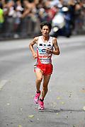 Shogo Nakamura wins the men's race in 2:11:28 during the Marathon Grand Championship, Sunday Sept. 15 2019, in Tokyo. (Agence SHOT/Image of Sport)