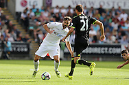 Fernando Llorente of Swansea city challenges Nemanja Matic of Chelsea. Premier league match, Swansea city v Chelsea at the Liberty Stadium in Swansea, South Wales on Sunday 11th Sept 2016.<br /> pic by  Andrew Orchard, Andrew Orchard sports photography.