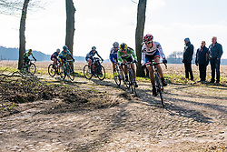 Reaching the end of another set of cobbles - Ronde van Drenthe 2016, a 138km road race starting and finishing in Hoogeveen, on March 12, 2016 in Drenthe, Netherlands.