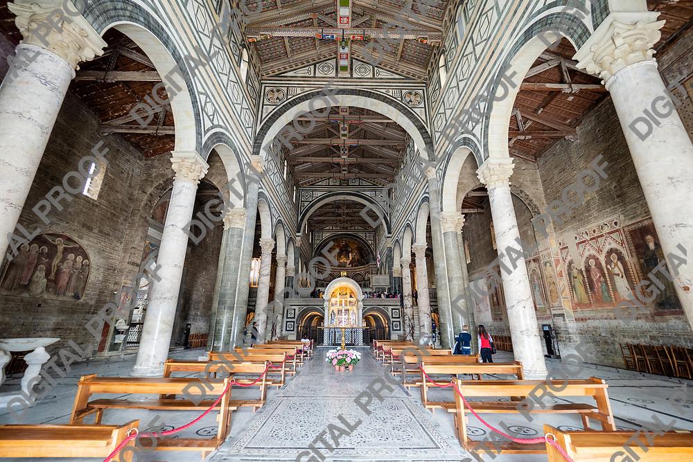Italy, Florence - May 11 2019, Main aisle of San Miniato al Monte church in Florence, Tuscany region - Italy