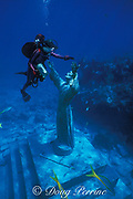 diver and Christ of the Abyss statue, Key Largo Dry Rocks,<br /> Florida Keys National Marine Sanctuary, Key Largo, Florida ( Western Atlantic Ocean )  MR 79