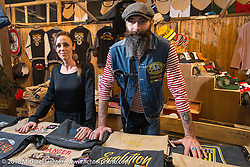 Another great t-Shirt and apparel stand at Motor Bike Expo. Verona, Italy. January 23, 2016.  Photography ©2016 Michael Lichter.