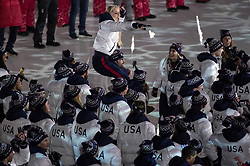 February 25, 2018 - Pyeongchang, KOR - Lindsey Vonn is carried as Team USA enters Pyeongchang Olympic Stadium during the Closing Ceremony of the 2018 Pyeongchang Winter Olympics on Sunday, February 25, 2018 in South Korea. (Credit Image: © Carlos Gonzalez/TNS via ZUMA Wire)