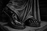 Bronze Statue Feet, Stairway at the Paris Opera House. Image taken with a Leica X2 camera (ISO 800, 24 mm, f/2.8, 1/30 sec). In camera conversion to B&W.