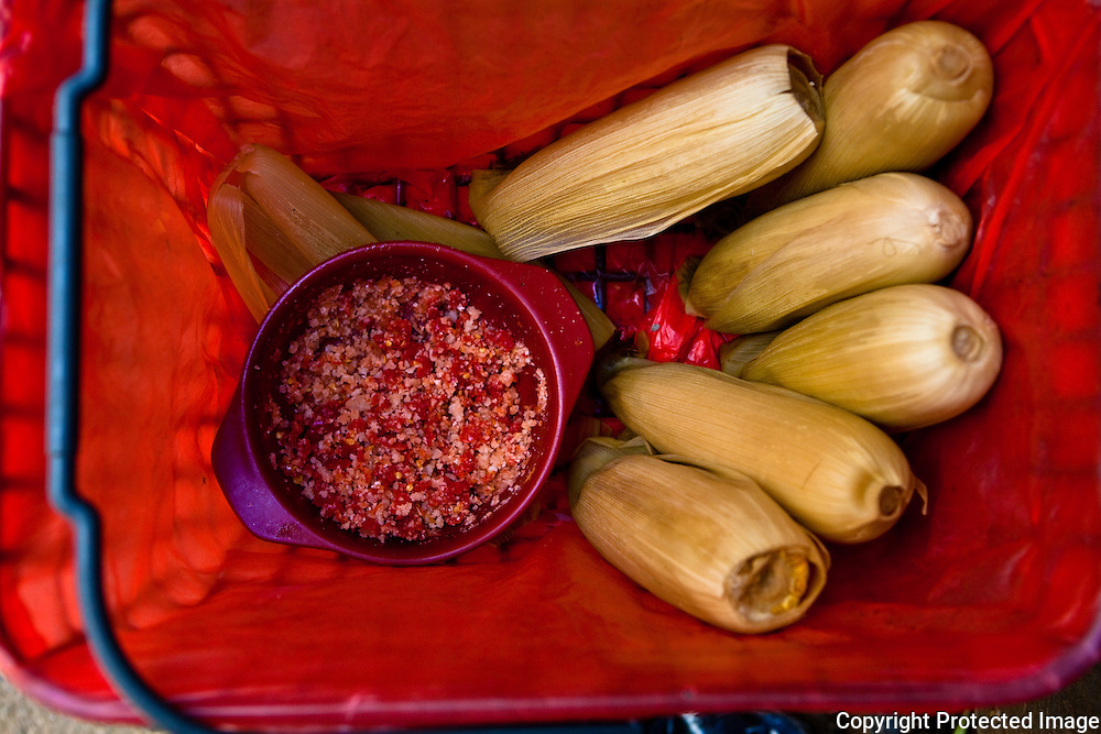 corn sold with chili and salt, Rantepao Market,Sulawesi, Indonsia