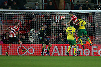Football - 2016 / 2017 FA Cup - Third Round Replay: Southampton vs. Norwich City<br /> <br /> Southampton's Shane Long climbs highest to head towards goal but his header is blocked by Michael McGovern of Norwich City only for the ball to drop for Long to score from the rebound at St Mary's Stadium Southampton England<br /> <br /> Colorsport/Shaun Boggust