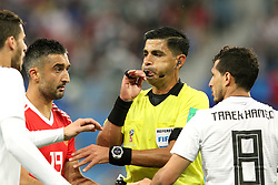 June 19, 2018 - St. Petersburg, Russia - 19 June 2018, Russia, St. Petersburg, FIFA World Cup 2018, First Round, Group A, First Matchday, Russia v Egypt. Player of the national team Alexander Samedov (19), Tarek Hamed (8), Enrique Caceres Villafante. Chief Justice Enrique Caceres Villafante. (Credit Image: © Russian Look via ZUMA Wire)