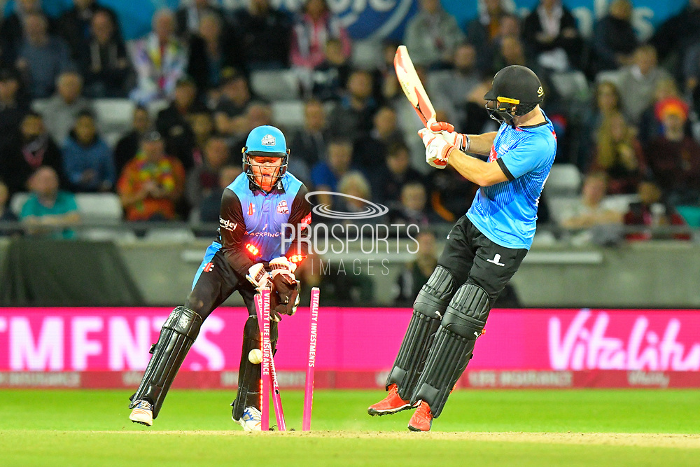 Wicket - Laurie Evans of Sussex is bowled by Ed Barnard of Worcestershire during the final of the Vitality T20 Finals Day 2018 match between Worcestershire Rapids and Sussex Sharks at Edgbaston, Birmingham, United Kingdom on 15 September 2018.