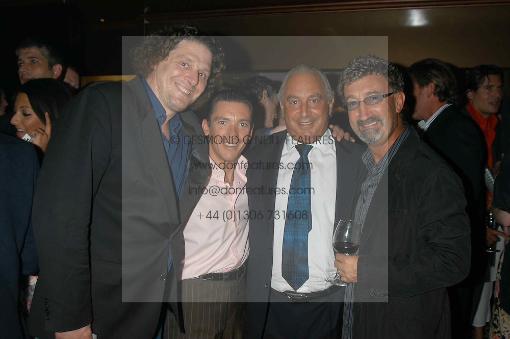 Left to right, MARCO PIERRE WHITE, Jockey FRANKIE DETTORI, PHILIP GREEN and EDDIE JORDAN  at a party hosted by Frankie Dettori, Marco Pierre White and Edward Taylor to celebrate the launch of Frankie's Italian Bar & Grill at 3 Yeoman's Row, London SW3 on 2nd September 2004.