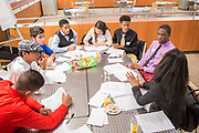 Purchase, NY – 31 October 2014. The team from Saunders Trades and Technical High School discusssing their case study. The Business Skills Olympics was founded by the African American Men of Westchester, is sponsored and facilitated by Morgan Stanley, and is open to high school teams in Westchester County.