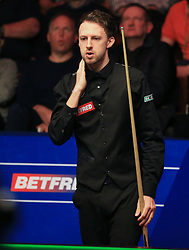 Judd Trump looks dejected on day five of the Betfred Snooker World Championships at the Crucible Theatre, Sheffield.