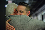 April 4, 2016; Indianapolis, Ind.; Ryan McCarthy is greeted by his father after the Seawolves fell to Lubbock Christian 78-73 the NCAA Division II Women's Basketball National Championship game at Bankers Life Fieldhouse.