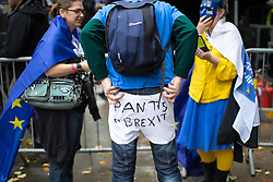 © Licensed to London News Pictures . 01/10/2017. Manchester, UK. Pants to Brexit . Thousands of people take part in an anti Brexit pro EU demonstration at All Saints Park in Manchester during the Conservative Party Conference , which is taking place at the Manchester Central Convention Centre . Photo credit: Joel Goodman/LNP