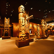 Totems at the First People's Exhibit at the Royal British Columbia Museum in Victoria, BC, Canada