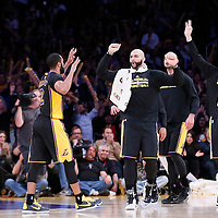 27 February 2015: Los Angeles Lakers forward Carlos Boozer (5) congratulates Los Angeles Lakers guard Wayne Ellington (2) during the Los Angeles Lakers 101-93 victory over the Milwaukee Bucks, at the Staples Center, Los Angeles, California, USA.