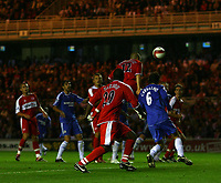 Photo: Andrew Unwin.<br /> Middlesbrough v Chelsea. The Barclays Premiership. 23/08/2006.<br /> Middlesbrough's Emanuel Pogatetz (#12) equalises for his team.