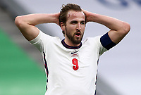 TIRANA, ALBANIA - MARCH 28: Harry Kane of Engalnd has his head in his hands during the FIFA World Cup 2022 Qatar qualifying match between Albania and England at the Qemal Stafa Stadium on March 28, 2021 in Tirana, Albania. Sporting stadiums around Europe remain under strict restrictions due to the Coronavirus Pandemic as Government social distancing laws prohibit fans inside venues resulting in games being played behind closed doors (Photo by MB Media)