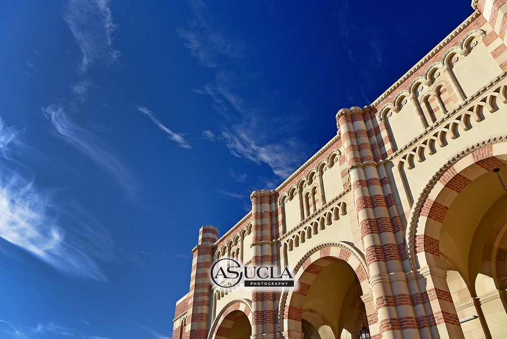 ASUCLA Photography Archive -  Exterior image of UCLA Kaufman Hall, UCLA Campus. University of California Los Angeles, Westwood, California.<br /> Also know as Glorya Kaufman Hall, it is the home of UCLA World Arts and Cultures/Dance.<br /> <br /> Copyright: ASUCLA