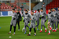 Football - 2019 / 2020 season - Liverpool training & press conference pre-Atletico Madrid<br /> <br /> The Atletico Madrid squad warm up during today's open training session at Anfield ahead of tomorrow's Champions League match against Liverpool, at Anfield.<br /> <br /> COLORSPORT/ALAN MARTIN