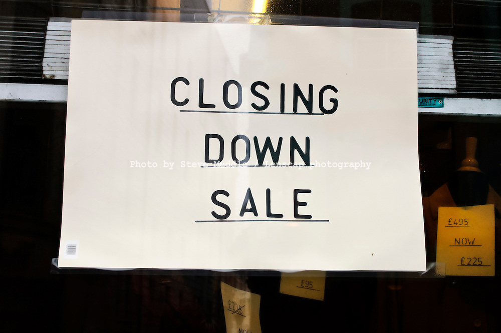 Closing Down Sign in Shop Window - 2010