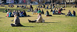 THEMENBILD - Fruehling in Wien. das Bild wurde am 15.  Maerz 2012 aufgenommen. im Bild Leute sitzen im Sigmund Freud Park und geniessen die Sonne // THEME IMAGE FEATURE - Springtime in Vienna. The image was taken on march, 15, 2012. Picture shows People sitting at Sigmund Freud Park and enjoying the sun, AUT, EXPA Pictures © 2012, PhotoCredit: EXPA/ M. Gruber