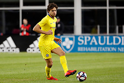 May 15, 2019 - Foxborough, MA, U.S. - FOXBOROUGH, MA - MAY 15: Chelsea FC defender Marcos Alonso (3) passes the ball during the Final Whistle on Hate match between the New England Revolution and Chelsea Football Club on May 15, 2019, at Gillette Stadium in Foxborough, Massachusetts. (Photo by Fred Kfoury III/Icon Sportswire) (Credit Image: © Fred Kfoury Iii/Icon SMI via ZUMA Press)