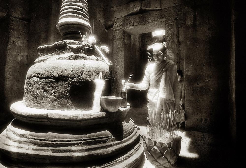 Central Stupa and Nun - Preah Khan.