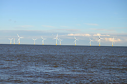 Scroby Sands, UK's first offshore windfarm, off Great Yarmouth, Norfolk, 2014