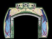 Detail from an art Nouveau decorative frieze surrounding a door to a shop in Amsterdam. Dutch style circa 1905