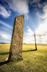Standing stones at Stenness, Orkney.  One of the earliest stone circles in Britain standing at up to six metres in height and dating from around 3100 BC<br /> <br /> (c) Andrew Wilson | Edinburgh Elite media