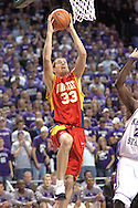 Iowa State forward Jiri Hubalek (33) drives in for the score against Kansas State in the first half at Bramlage Coliseum in Manhattan, Kansas, February 8, 2006.  K-State defeated the Cyclones 66-63.