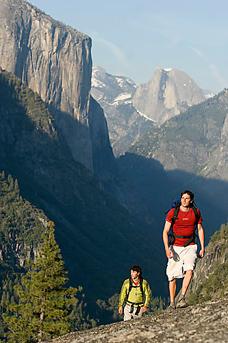 Two young men backpacking in Yosemite National Park, CA