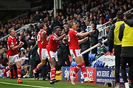 Barnsley midfielder Brad Potts (20)  celebrates his free kick goal to put Barnsley 2-0 up  during the EFL Sky Bet League 1 match between Peterborough United and Barnsley at The Abax Stadium, Peterborough, England on 6 October 2018.