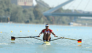 Seville. Andalusia. SPAIN. GER M1X. Marcel HACKER, moves away from the start pontoon at the 2013 FISA European Rowing Championship.  Guadalquivir River.  Friday   31/05/2013  [Mandatory Credit. Peter Spurrier/Intersport]