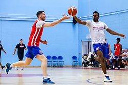 Marcus Delpeche of Bristol Flyers and Josh Rodgers of Bristol Flyers - Mandatory by-line: Robbie Stephenson/JMP - 17/09/2019 - BASKETBALL - SGS Arena - Bristol, England - Bristol Flyers Open Training Session