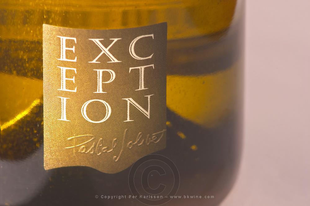 A bottle of Sancerre Exception by Pascal Jolivet - close-up of the label - Loire Valley, France