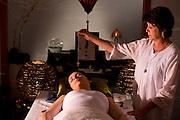 Araxa_MG, Brasil...Grande Hotel e Termas de Araxa. Na foto uma moca em uma secao de relaxamento...Grande Hotel e Termas de Araxa. In this photo a woman relaxing...Foto: BRUNO MAGALHAES /  NITRO.