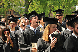 Soon to be Graduates Cheering at the Yale University Commencement 2009, Old Campus, New Haven, CT. Credit Photography: James R Anderson