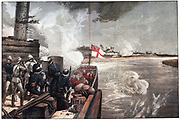To the Rescue': War in the Sudan, 1885. British gunboats engaging the enemy on the way up the ile to relieve General Gordon, besieged by the Mahdi at Khartoum. The British gunboats under the command of Lord Charles Beresford arrived on 28 January, two days after the fall of the city and the massacre of Gordon and the garrison. The gunboat fitted with Nordenfeld machine gun. Officers and men are wearing in Solar Topees (pith helmets) . The  From 'The Illustrated London News'. (London, 21 March 1885). Chromolithograph.