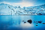 A view of the ice and snow at Matanuska Glacier near Palmer, Alaska.